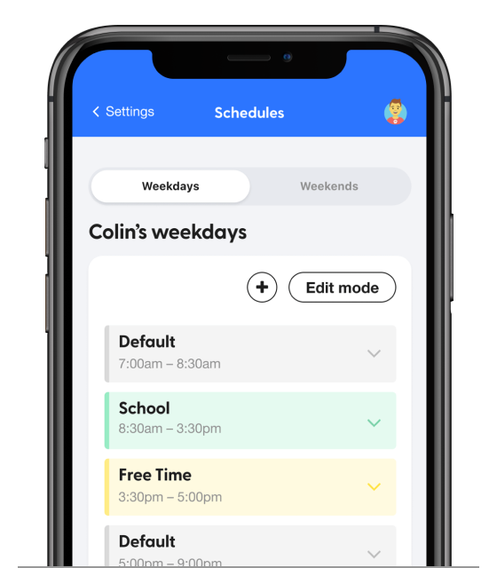 bark iphone schedule screen
