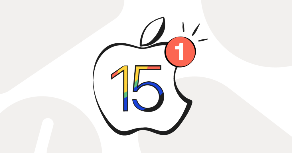 iOS 15 depicted by the Apple logo with a multicolored 15 in it