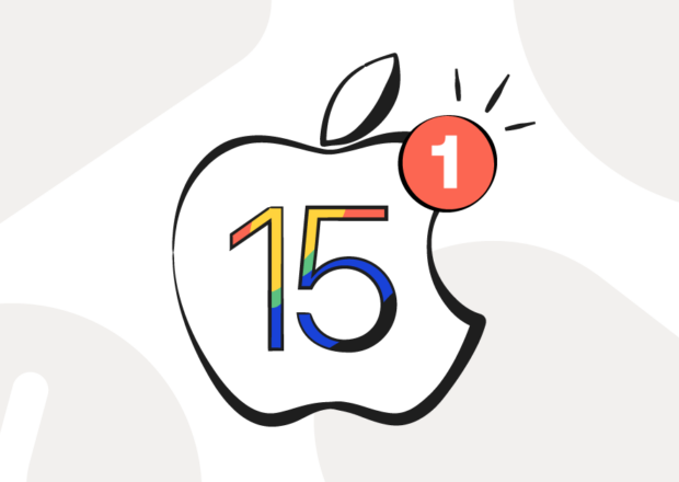 iOS 15 portrayed by the Apple logo with a multicolored 15 inside it