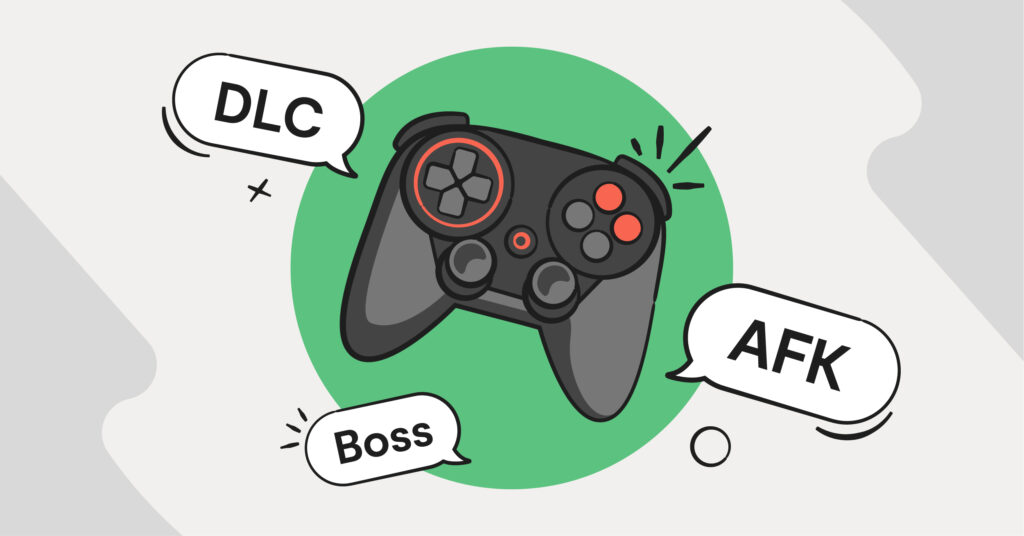 Gaming slang shown by a controller with word bubbles popping out